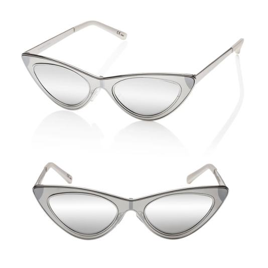 Adam Selman x Le Specs The Hunger metallic silver cat eye sunglasses as seen on Rihanna