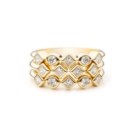 DANNIJO Amadora 18k yellow gold and white diamond ring as seen on Rihanna