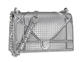Dior metallic silver Diorama handbag as seen on Rihanna