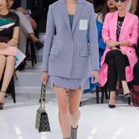 Christian Dior Spring 2015 patterned skirt suit as seen on Rihanna