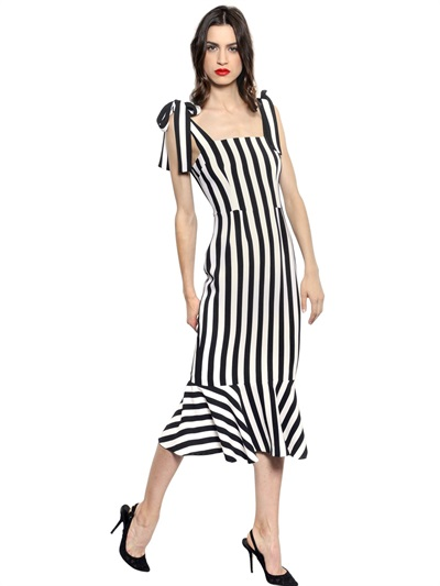 Dolce & Gabbana Cady black and white vertical stripe dress as seen on Rihanna