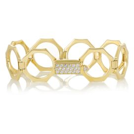 Lynn Ban 14k yellow gold and white diamond Reverso convertible bracelet as seen on Rihanna
