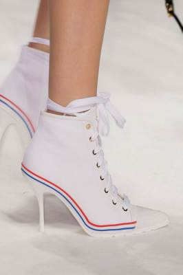 Moschino Fall 2015 lace-up high heel boots as seen on Rihanna