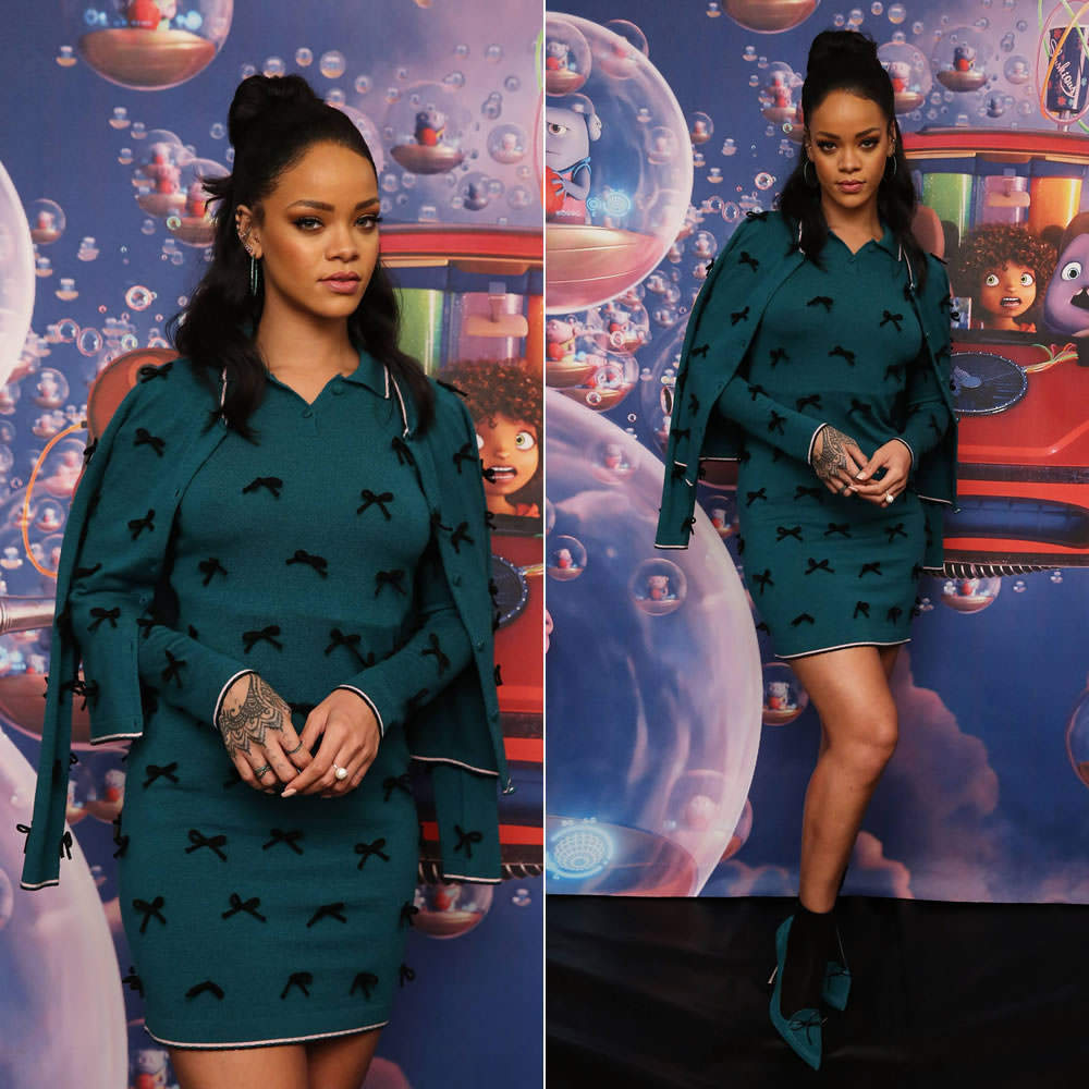bc44f2909cc Rihanna attended another press junket for the animated movie Home today in  New York. Once again she was styled by Mel Ottenberg who selected an outfit  from ...