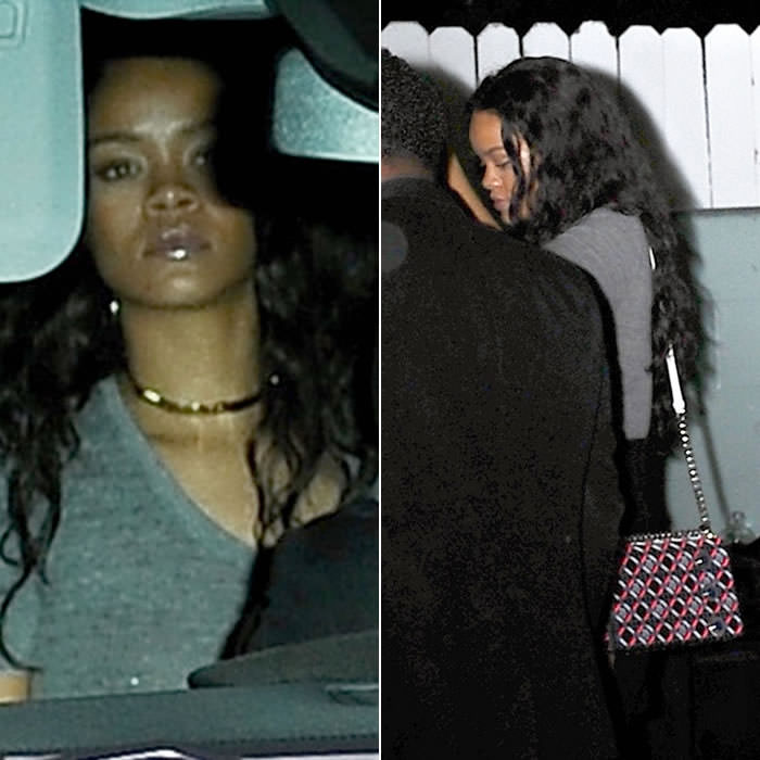 Rihanna wearing Jennifer Fisher ribbon knot choker and Dior Diorama handbag