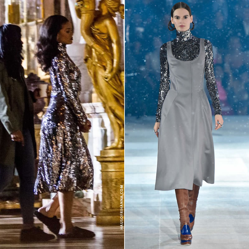Rihanna at Versailles wearing Christian Dior Pre-Fall 2015 silver sequined dres