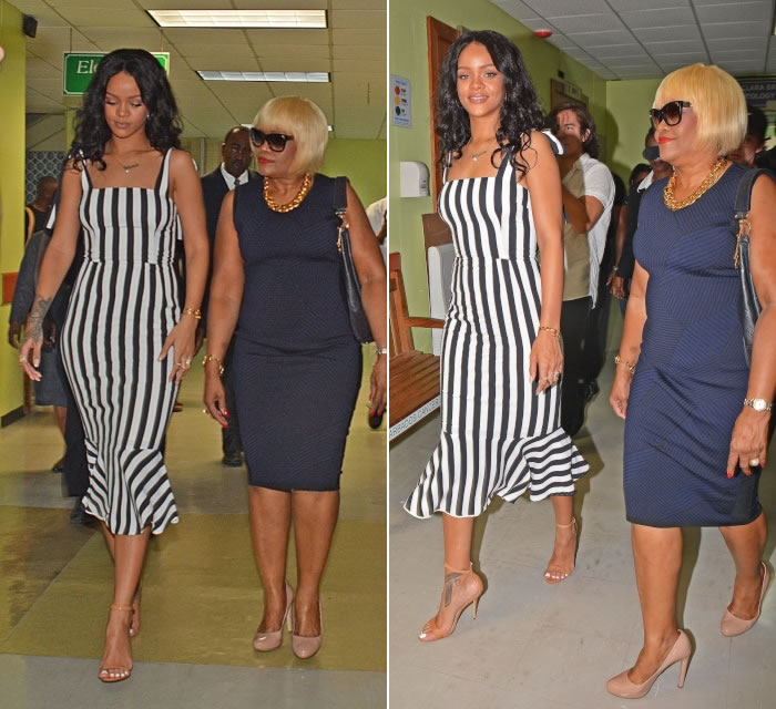 Rihanna wearing Dolce & Gabbana Spring 2015 Cady black and white vertical stripe dress, Manolo Blahnik Chaos sandals, Jennifer Fisher pearl cleavage chain, Djula rings
