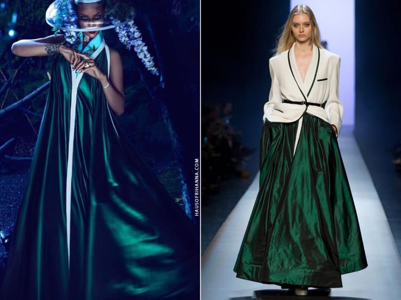Rihanna wearing Jean Paul Gaultier Spring 2015 couture emerald green dress in Harper's Bazaar China April 2015 issue