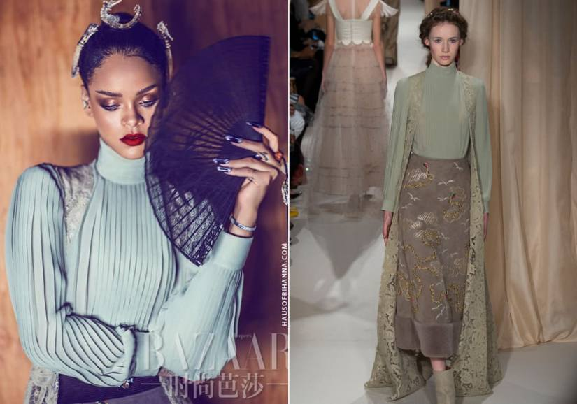 Rihanna wearing Valentino Spring 2015 couture lace vest, pleated top and embroidered skirt in Harper's Bazaar China April 2015 issue