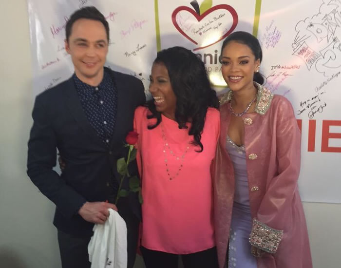 Rihanna and Jim Parsons with contest winner Cheryl Jackson at Home movie premiere in Texas