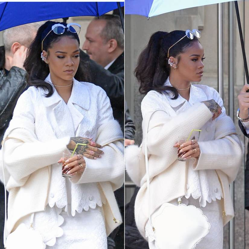 Rihanna wearing Simone Rocha embellished eye glasses, Saint Laurent waffle knot mohair cardigan, Jennifer Fisher large diamond slice choker, Repossi Antifer, Berbere and White Noise rings