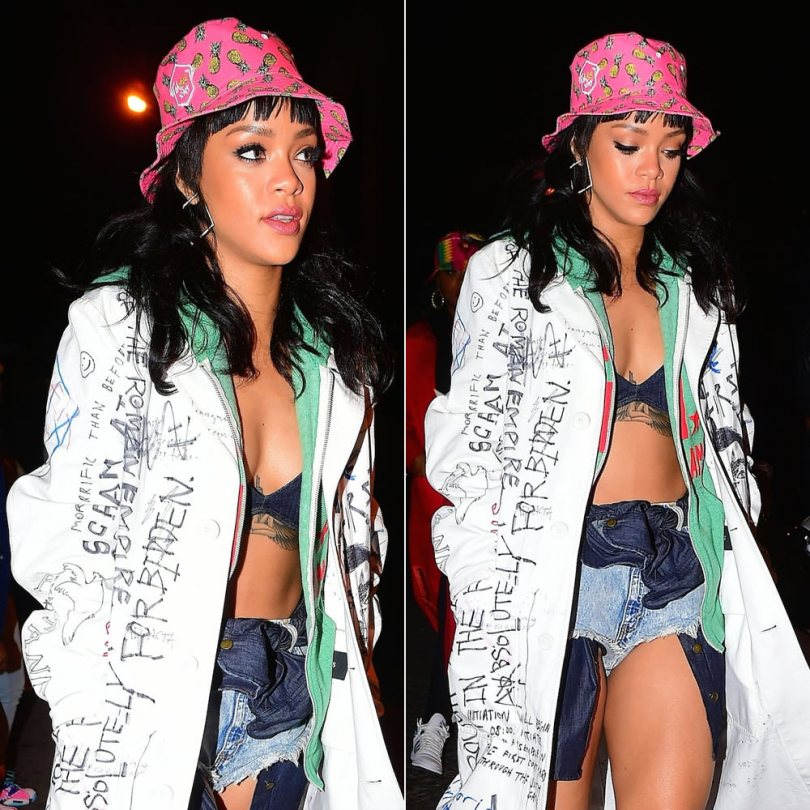 Rihanna wearing Melissa Forde by Wrkng Title M$$xWT pink pineapple bucket hat, Raf Simons Fall 2015 white graffiti coat, Roots of Fight Ali Rumble Anniversary green hoodie, Lynn Ban square hoop earrings