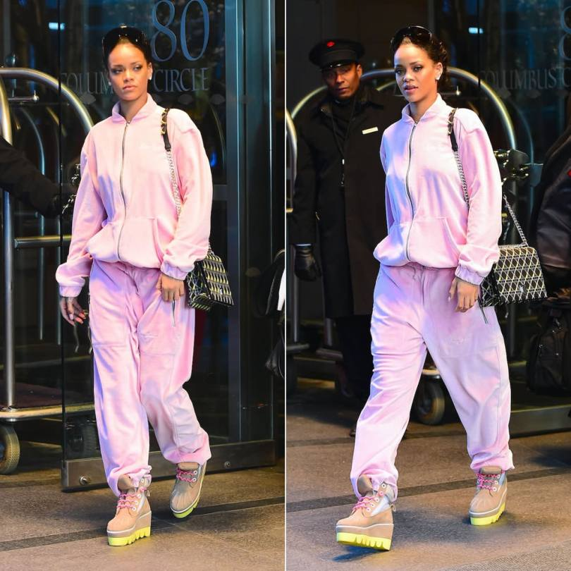 Rihanna wearing Sean John pink velour tracksuit, Dior Diorama handbag, DEGEN Antibody brown boots, Givenchy Seventeen shield sunglasses