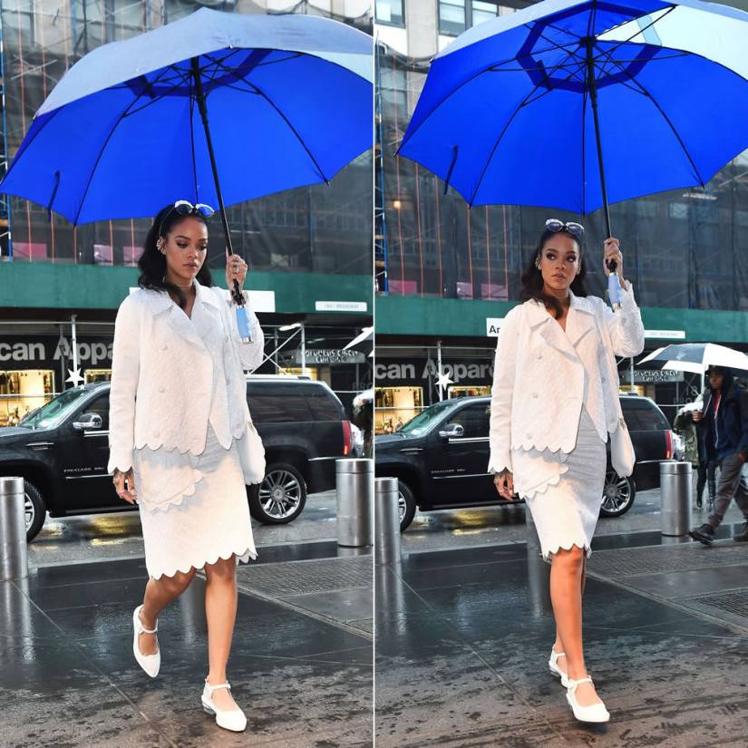 Rihanna wearing Simone Rocha Spring 2015 white brocade jacket and pencil skirt with scalloped trim, Mary Jane shoes with perspex heel, scalloped shoulder bag and embellished eye glasses