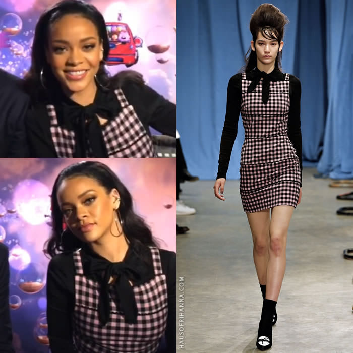 Rihanna wearing Adam Selman Fall 2015 black blouse and pink gingham dress during Home Q&A on Snapchat