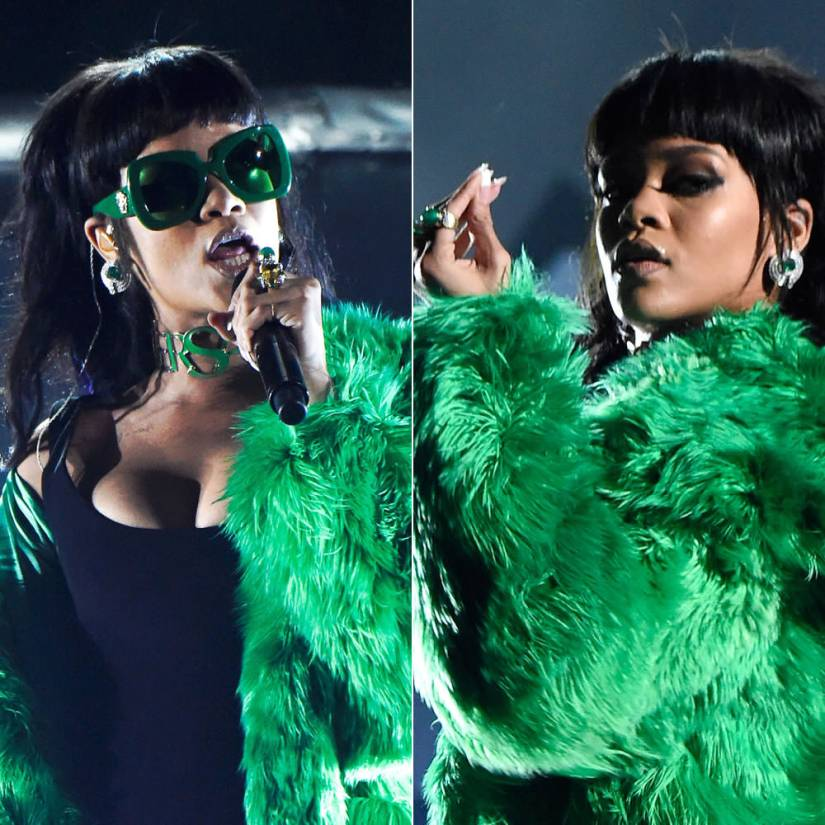 Rihanna at iHeartRadio Music Awards in Versace Fall 2015 green sunglasses, choker and fur coat, David Webb emerald earrings and rings