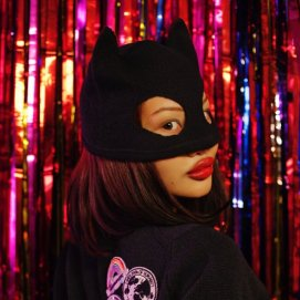 Silver Spoon Attire black cashmere kitty ear beanie mask as seen on Rihanna