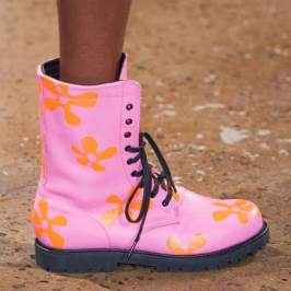 Jeremy Scott Spring 2015 pink combat boots as seen on Rihanna