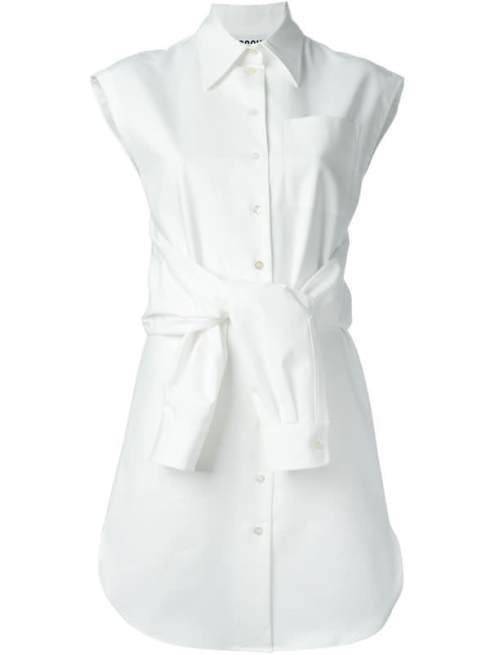 Moschino white belted shirt dress as seen on Rihanna