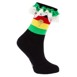 Pum Pum Socks Lioness Rasta print socks with lace trim as seen on Rihanna