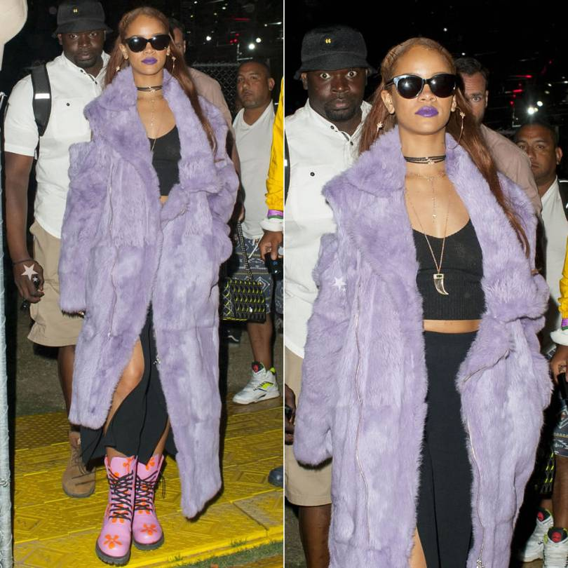 Rihanna in Marques'Almeida Fall 2015 purple faux fur coat, Jeremy Scott Spring 2015 pink combat boots and Jacquie Aiche leather chokers at Coachella 2015