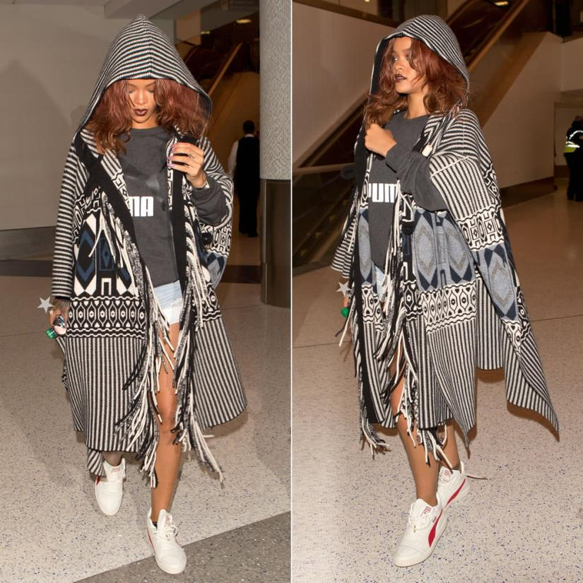 Rihanna wearing Chloe pre-fall 2015 fringed poncho, Puma No. 1 Large logo sweatshirt, Puma Boris Becker OG mid-top sneakers, Levi's shorts, Unearthen crystal pyramid watch