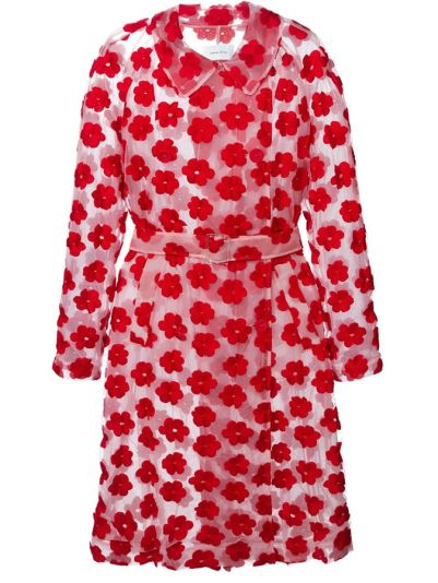 Simone Rocha sheer floral embroidered belted coat as seen on Rihanna