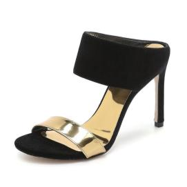 Stuart Weitzman Myslide black and gold suede mule sandals as seen on Rihanna