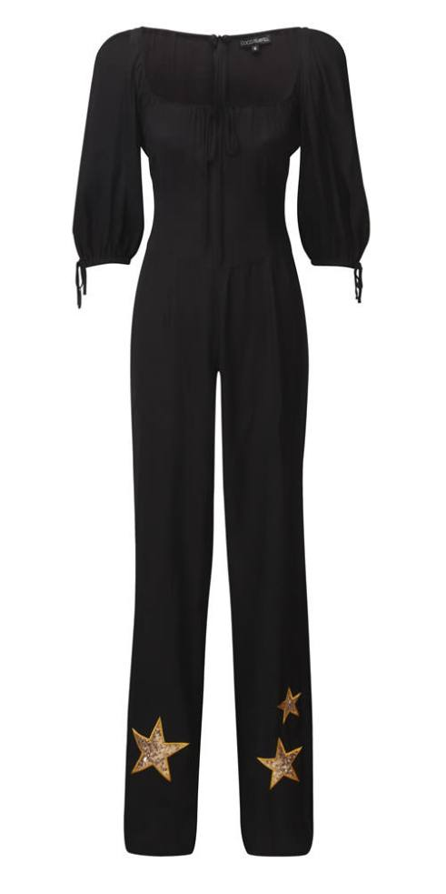 Coco Fennell Graceland black gold stars jumpsuit as seen on Rihanna
