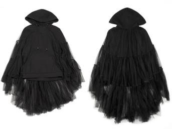 Nicopanda black ruffled tulle hoodie as seen on Rihanna
