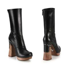 Prada leather nail-studded wooden-heeled boots as seen on Rihanna