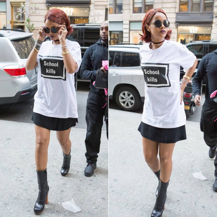 Rihanna wearing Hyein Seo school kills white t-shirt, Prada wooden heel nail stud leather boots, Le Specs Wild Child round sunglasses