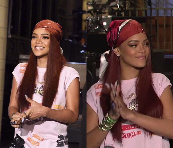 Rihanna wearing vintage Sex Pistols t-shirt from Chapel NYC, Christian Dior scarf, Lynn Ban Sirene sapphire cuff, Mala by Patty Rodriguez ride or die necklace