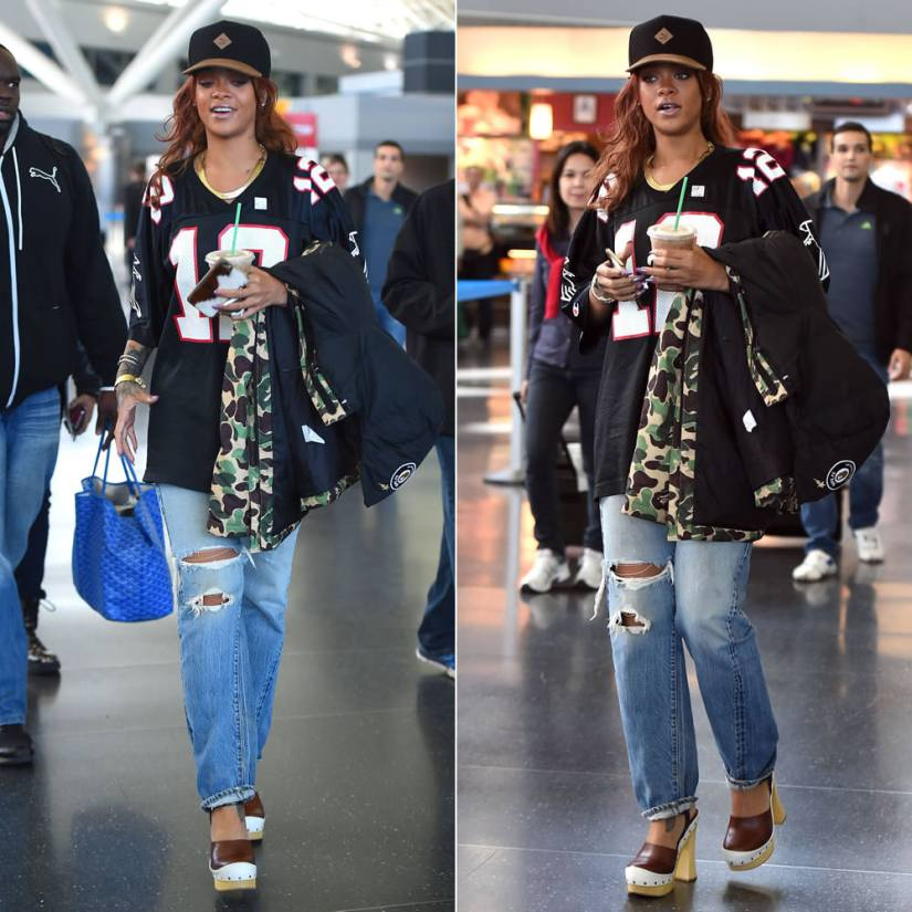 Rihanna wearing Puma cap and Puma x BAPE camo jacket, vintage Champion Atlanta Falcons jersey, Prada Spring 2015 wooden clog sandals, Fallon herringbone necklace, Goyard St. Louis tote