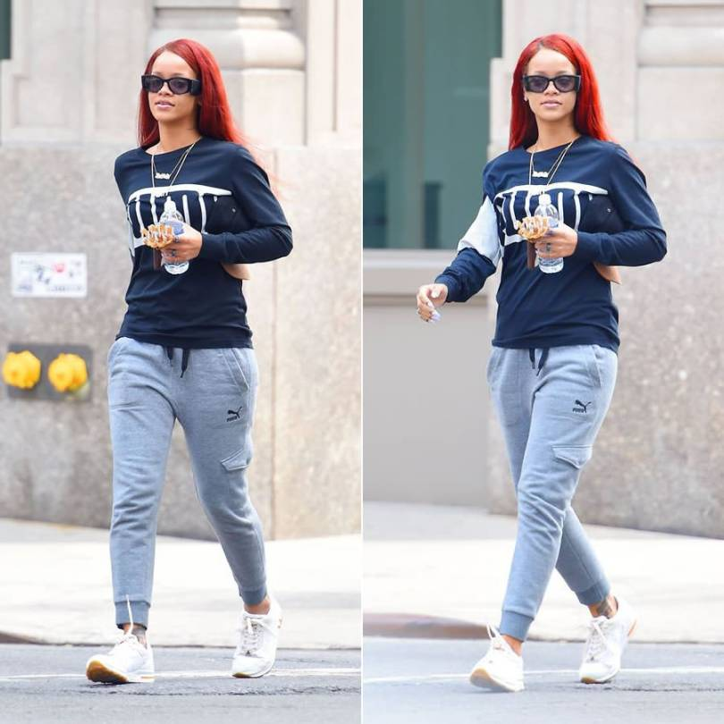 Rihanna wearing Puma long sleeve t-shirt, relaxed fit cargo sweatpants, Trinomic XT2 white/white sneakers, Chanel vintage quilted leather sunglasses, Mala by Patty Rodriguez ride or die necklace
