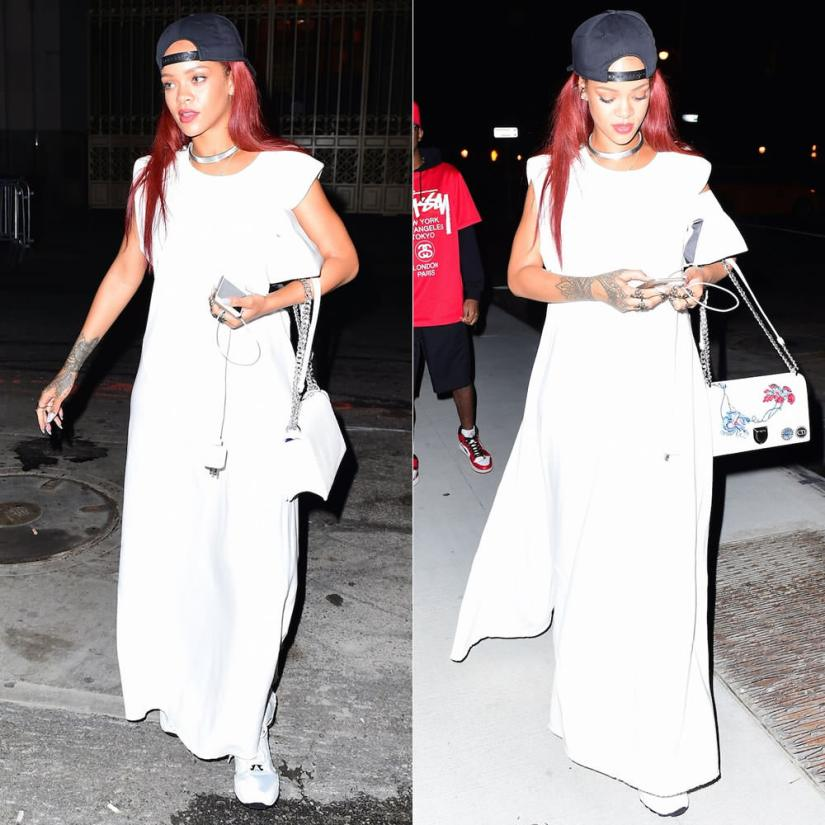 Rihanna wearing Rag and Bone white Patricia french terry maxi dress, Puma Trinomic XT2 sneakers, Christian Dior Diorama embroidered bag, Lynn Ban lace rings