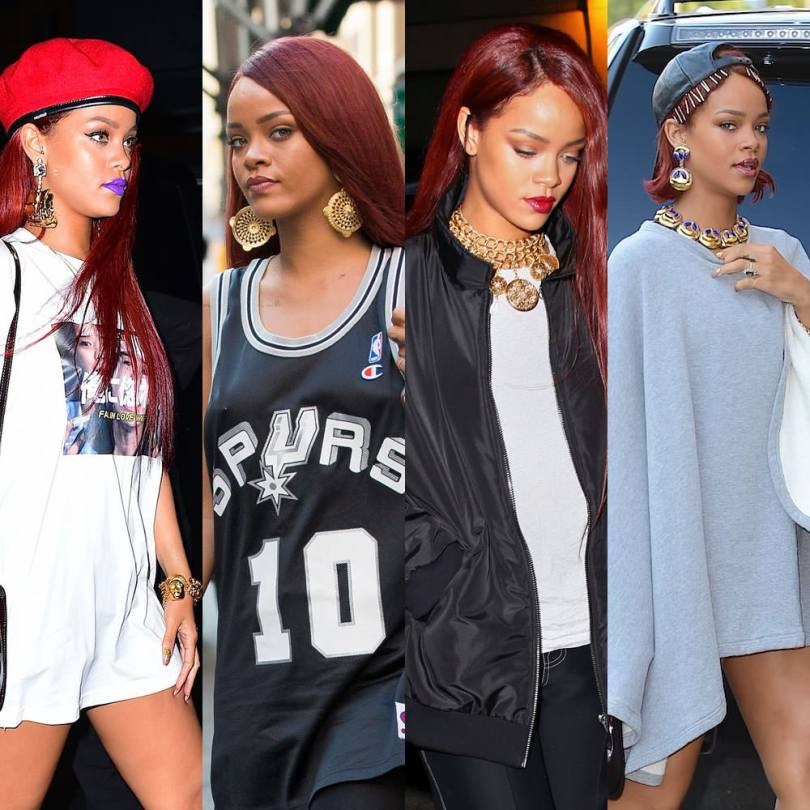 Rihanna wearing vintage earrings, bracelets and necklaces from Stazia Loren