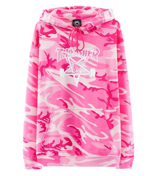 Thrasher Skategoat pink camo hoodie as seen on Rihanna
