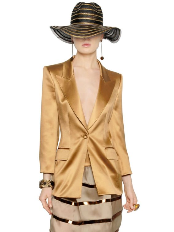 Armani bronze silk satin jacket as seen on Rihanna