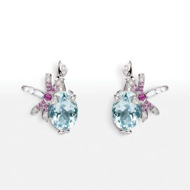 Dior 18k white gold and aquamarine Gourmande earrings as seen on Rihanna