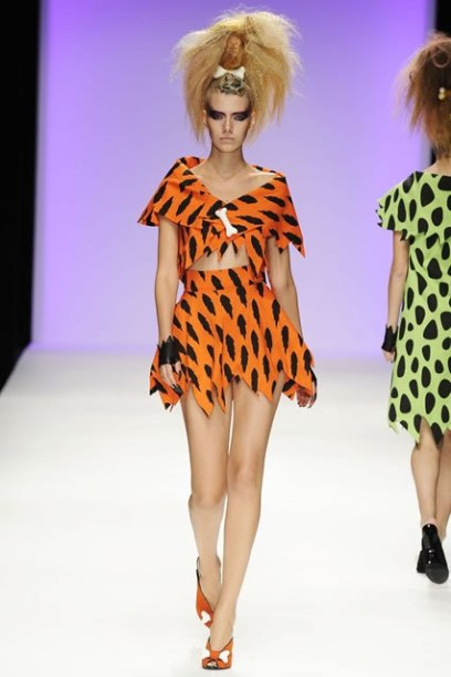 Jeremy Scott Spring 2010 Flintstones-inspired outfit as seen on Rihanna