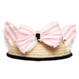 Maison Michel Bibi Yoko striped ears and bow straw hat as seen on Rihanna
