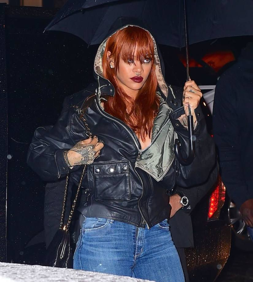 Rihanna wearing Cockpit USA vintage air rescue leather jacket