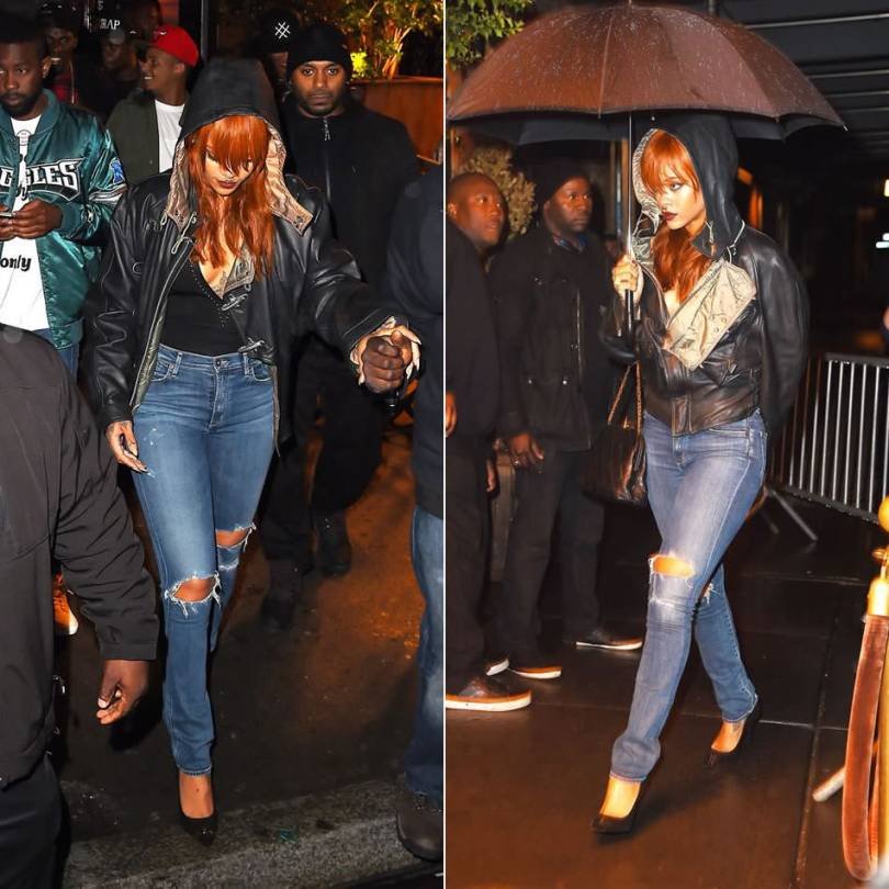 Rihanna wearing Cockpit USA vintage air rescue leather jacket, Citizens of Humanity premium vintage arley jeans, Givenchy studded bodysuit, Giuseppe Zanotti gold-tone band suede pumps