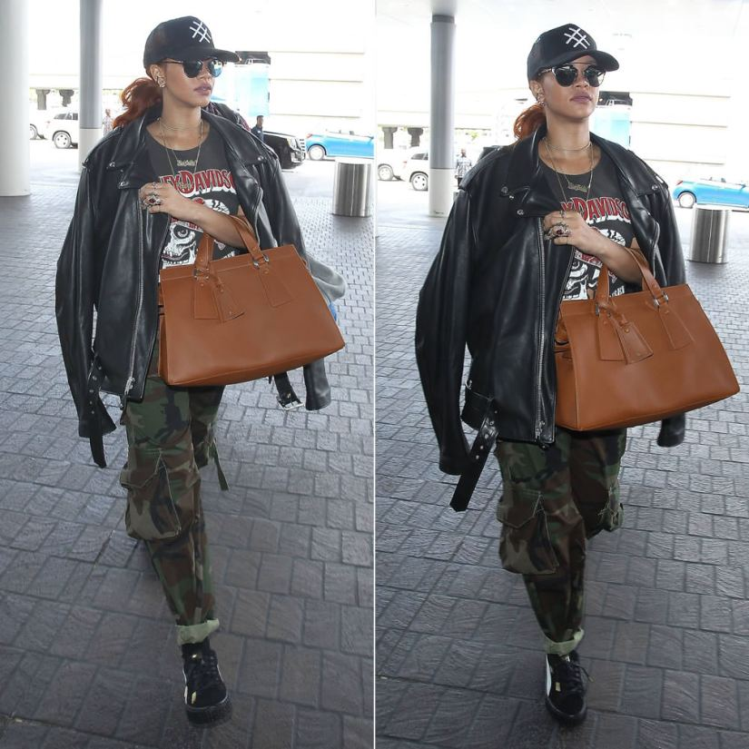 Rihanna wearing Lucid FC trucker hat, Harley Davidson ride me ride free tee, Matthew Dolan Fall 2015 camo cargo pants, Mr Completely Puma Suede creepers, Armani Le Sac 11 handbag