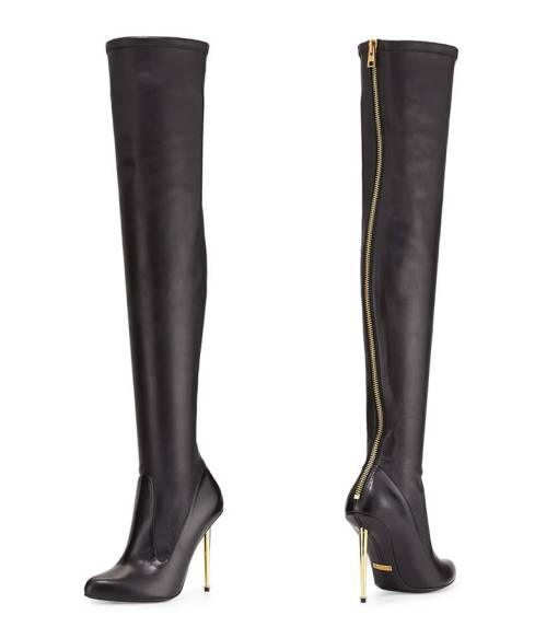 Tom Ford over-the-knee napa leather boots with metal stiletto heel as seen on Rihanna
