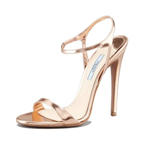 Prada metallic gold sandals as seen on Rihanna