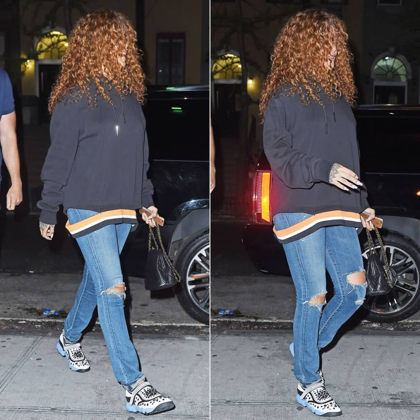 Rihanna wearing Givenchy striped hooded sweatshirt, Citizens of Humanity premium vintage arley jeans, Dior Fusion 2015 sneakers, Chanel vintage handbag