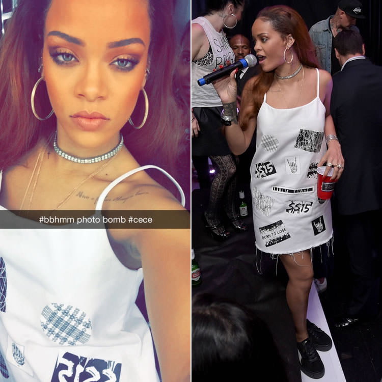 Rihanna Louise Alsop Spring 2015 patches dress, Puma x Mr Completely creepers