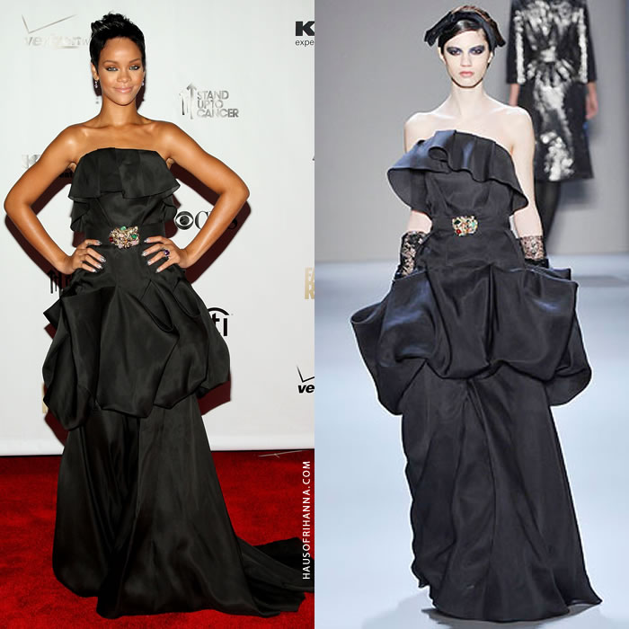 Rihanna Monique Lhuillier fall 2008 black gown fashion rocks 2008